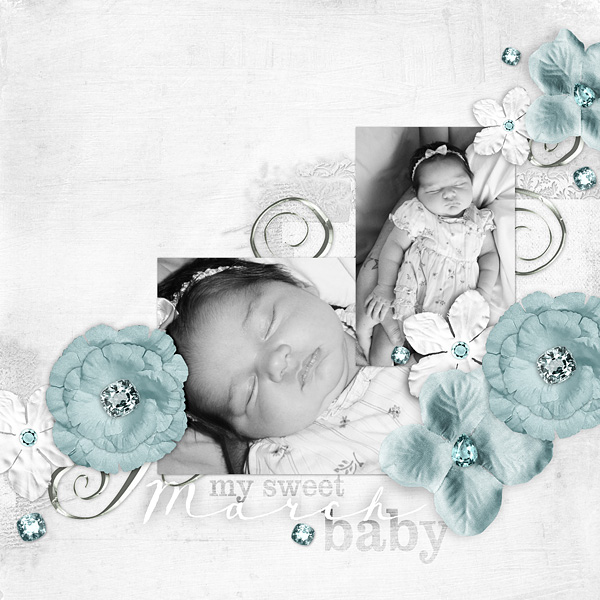 "Digital Scrapbooking Layout ""My Sweet March Baby"" by Amanda Fraijo-Tobin (see supply list with links below)"