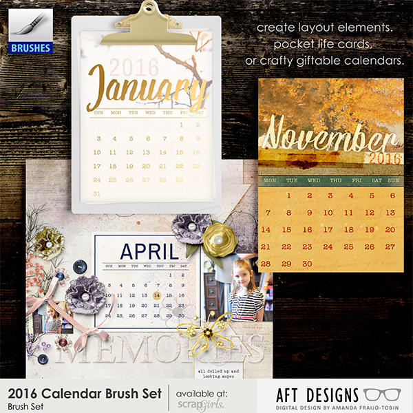 create layout elements, note dates, or create crafty giftable hybrid projects with these #digitalscrapbook calendar brushes | ScrapGirls.com