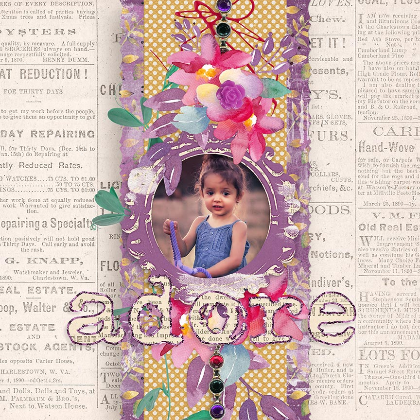 'Adore' #artjournal scrapbook layout using A Beautiful Mess Collection Biggie