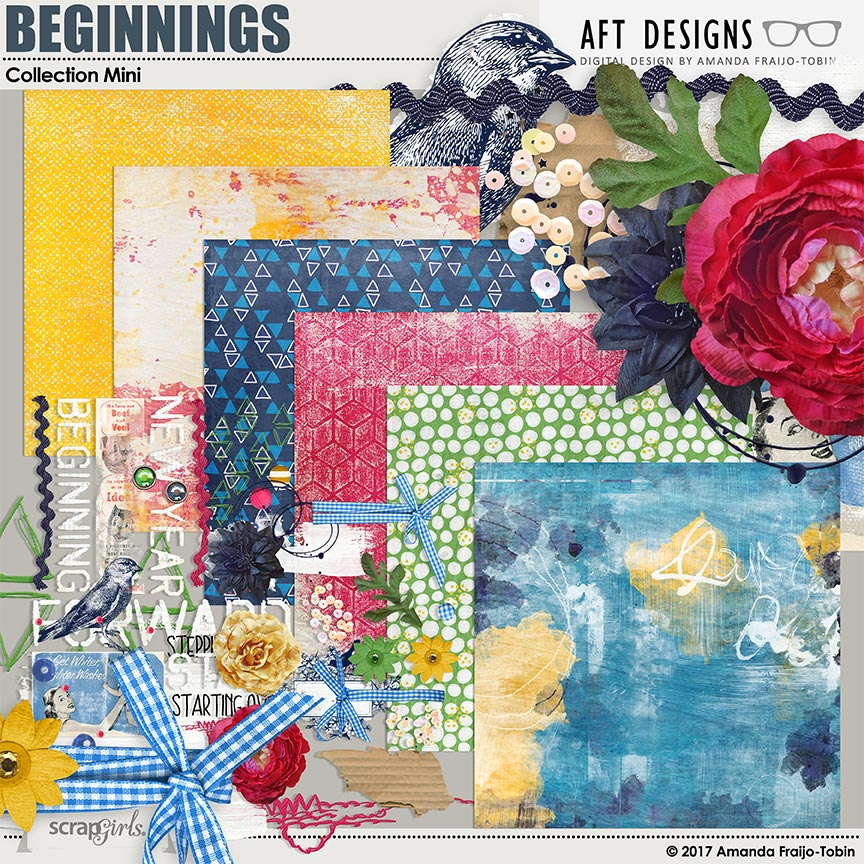 Beginnings Digital Scrapbooking Kit by AFT Designs - Amanda Fraijo-Tobin @ScrapGirls.com | #newyear #artjournaling #printables