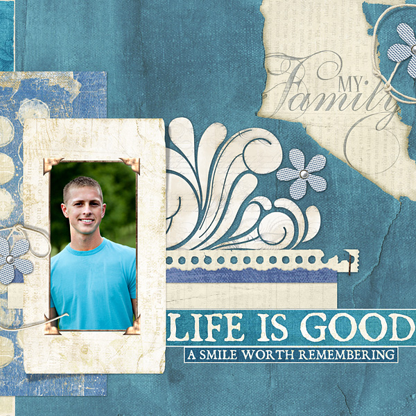 "Digital Scrapbooking Layout ""Life Is Good"" by Amanda Fraijo-Tobin (see supply list with links below)"