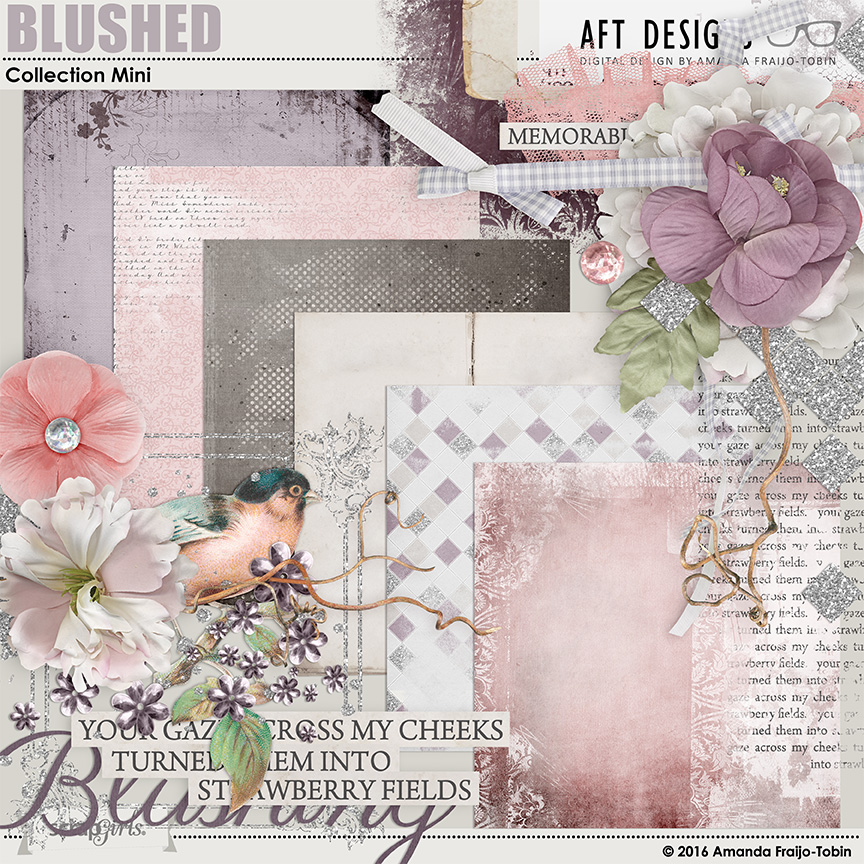 Blushed #digitalscrapbooking kit by Amanda Fraijo-Tobin - soft and feminine scrapbooking kit great for femnine, wedding pages and more. #photobook #digitalscrapbooking #printables