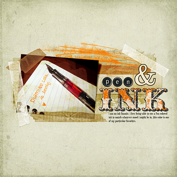 "Digital Scrapbooking Layout ""Pen and Ink"" by Amanda Fraijo-Tobin (see supply list with links below)"