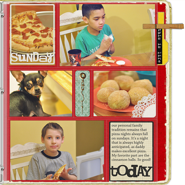 "Digital Scrapbooking Layout ""Pizza Night"" by Amanda Fraijo-Tobin (see supply list with links below)"