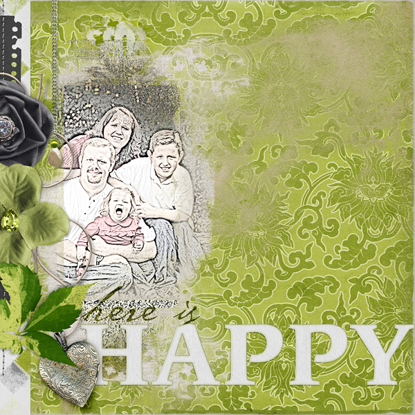 "Digital Scrapbooking Layout ""Here Is Happy"" by Amanda Fraijo-Tobin (see supply list with links below)"