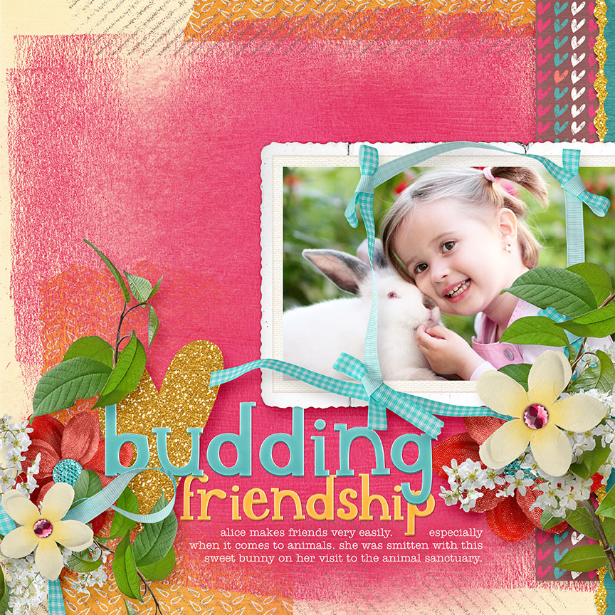 "Scrapbooking Layout idea ""Budding Friendship"" by Amanda Fraijo-Tobin 