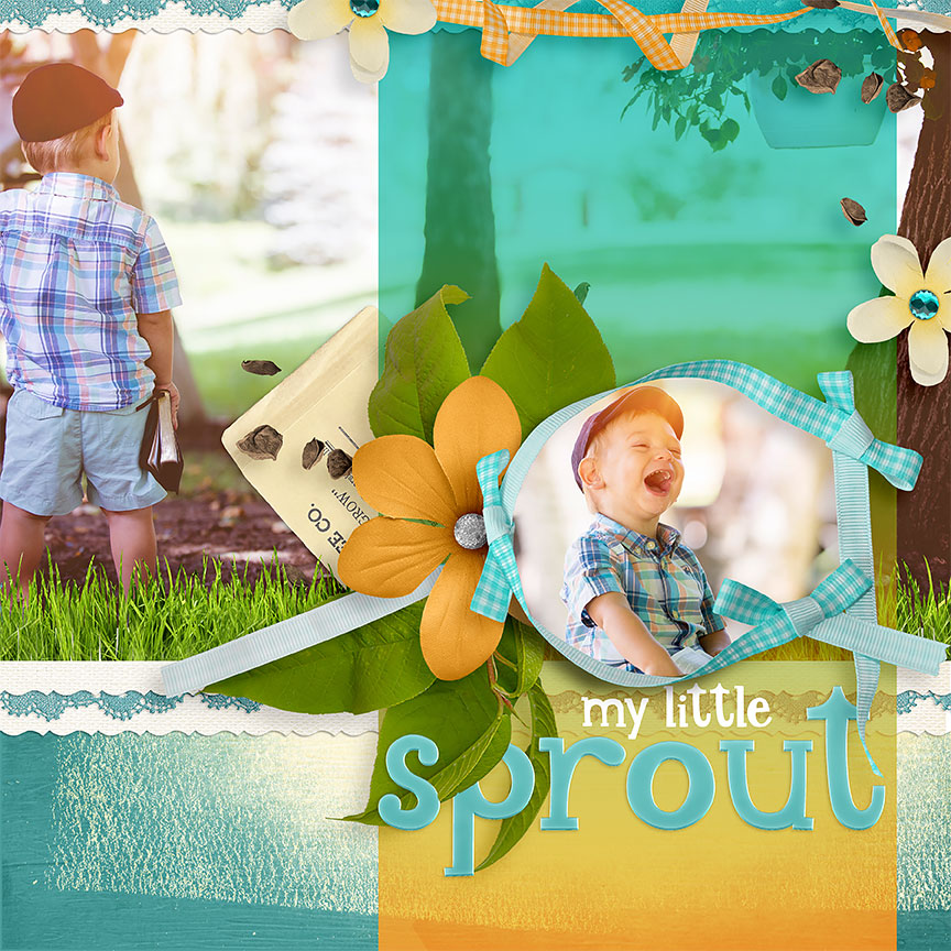 """Sprout"" #digitalscrapbooking layout by Amanda Fraijo-Tobin @ScrapGirls.com #spring #scrapbook"