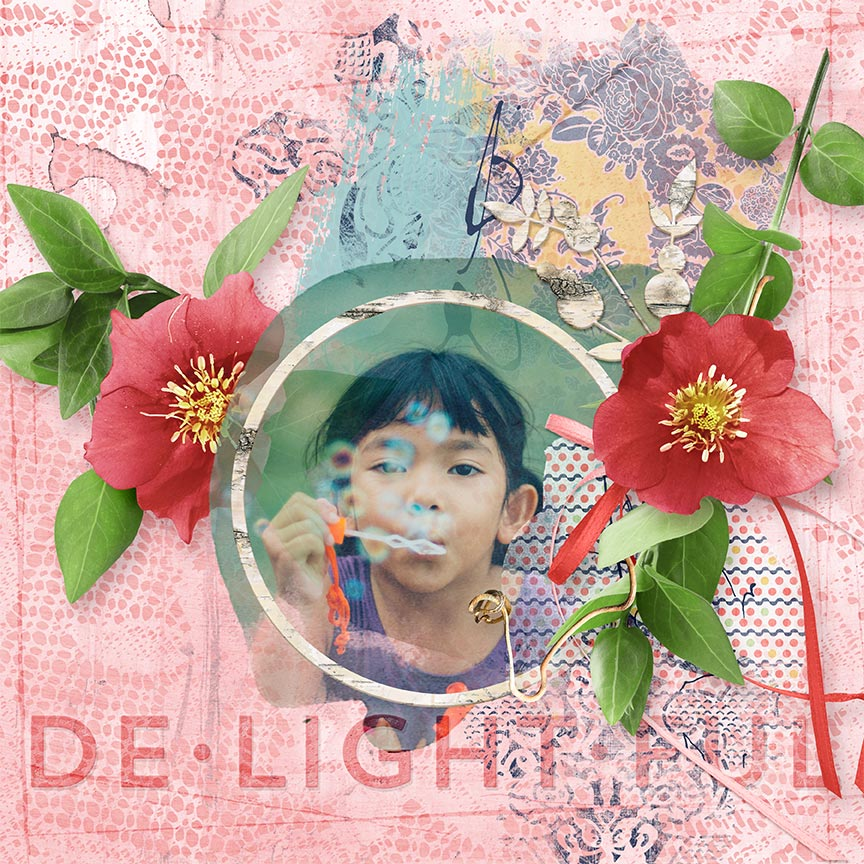'Delightful' #digitalscrapbooking layout by Amanda Fraijo-Tobin AFT Designs #digiscrap #spring