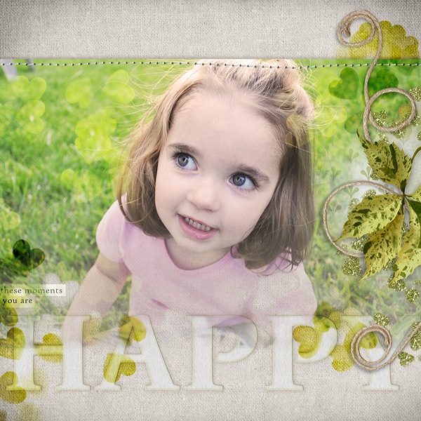 "Digital Scrapbooking Layout ""Happy"" by Amanda Fraijo-Tobin (see supply list with links below)"
