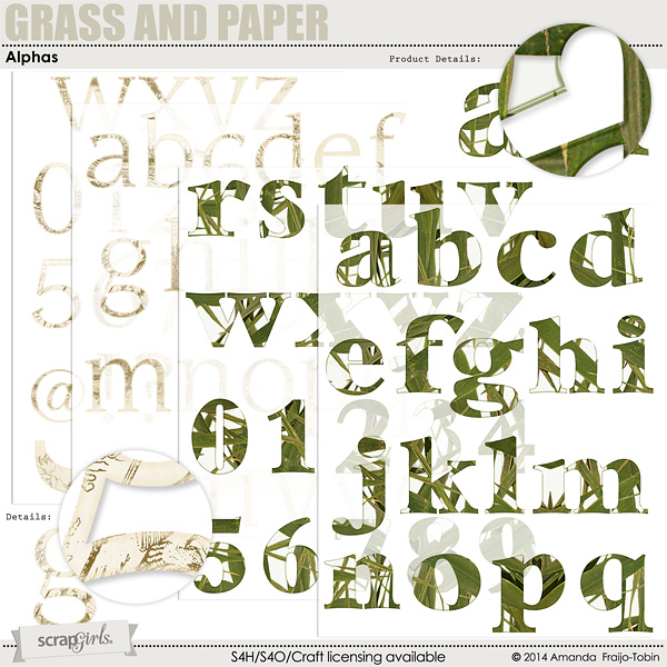 """Sold Separately <a href=""""http://store.scrapgirls.com/grass-and-paper-alphas-p30620.php"""">Grass and Paper Alphas</a>"""