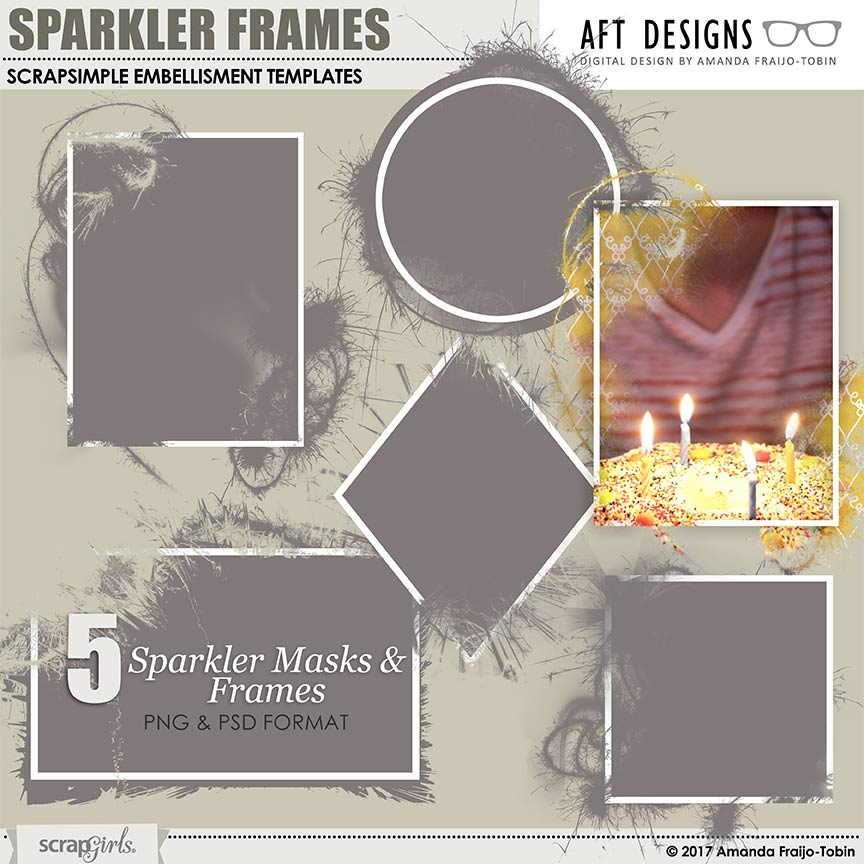 ScrapSimple Embellishment Templates: Sparkler Frames by AFT Designs - Amanda Fraijo-Tobin @ScrapGirls.com #photoshop #photmasks #digiscrap