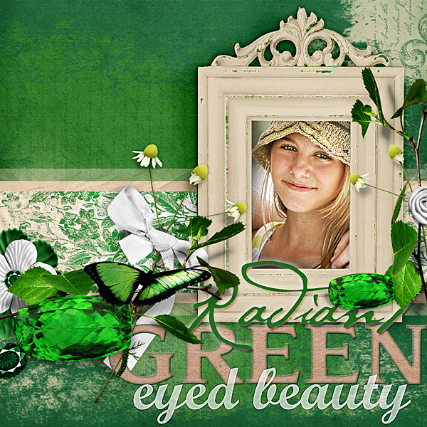 """Green Eyed Beauty"" layout using Emerald gemstone digital kit (see supply list with links below)"