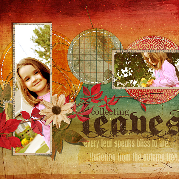 "Digital Scrapbooking Layout ""Collecting Leaves"" by Amanda Fraijo-Tobin (see supply list with links below)"