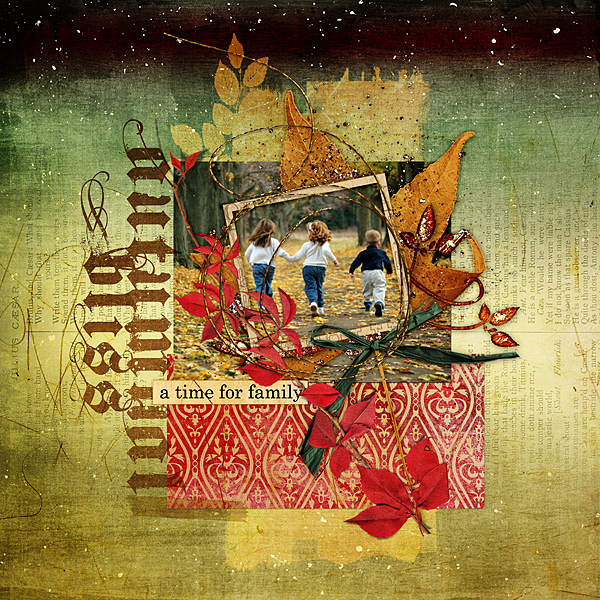 "Digital Scrapbooking Layout ""Autumnal Bliss"" by Amanda Fraijo-Tobin (see supply list with links below)"