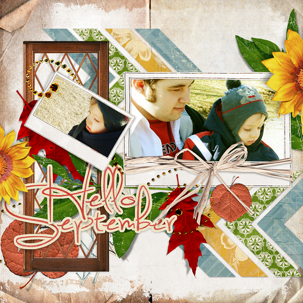 "Digital Scrapbooking Layout ""Hello September"" by Amanda Fraijo-Tobin (see supply list with links below)"