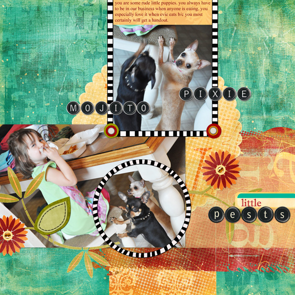 "Digital Scrapbooking Layout ""Little Pests"" by Amanda Fraijo-Tobin (see supply list with links below)"