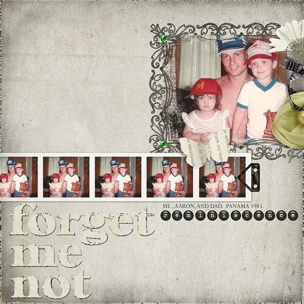 "Digital Scrapbooking Layout ""forget me not"" by Amanda Fraijo-Tobin (see supply list with links below)"