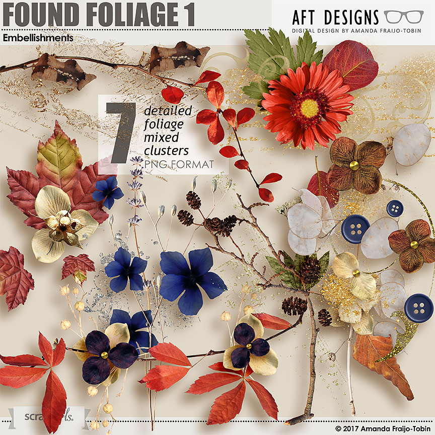 Found Foliage 1 Embellishments by AFT Designs - Amanda Fraijo-Tobin @ScrapGirls.com #scrapgirls #digitalscrapbooking