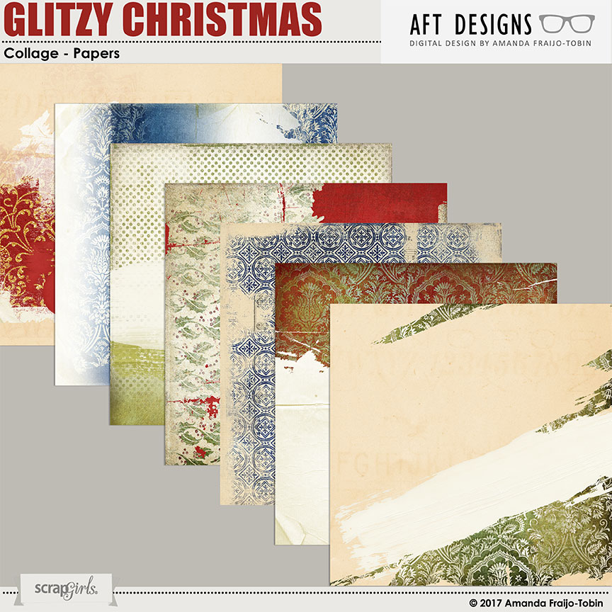 Glitzy Christmas Collage digital printable Papers by AFT Designs - Amanda Fraijo-Tobin @ScrapGirls.com