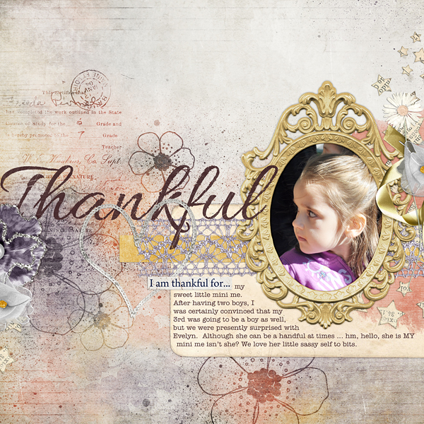 "Digital Scrapbooking Layout ""Thankful"" by Amanda Fraijo-Tobin (see supply list with links below)"