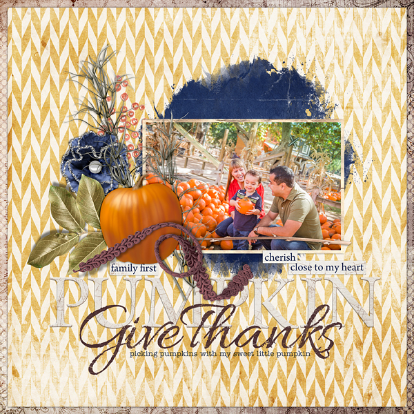 "Digital Scrapbooking Layout ""Give Thanks"" by Amanda Fraijo-Tobin (see supply list with links below)"