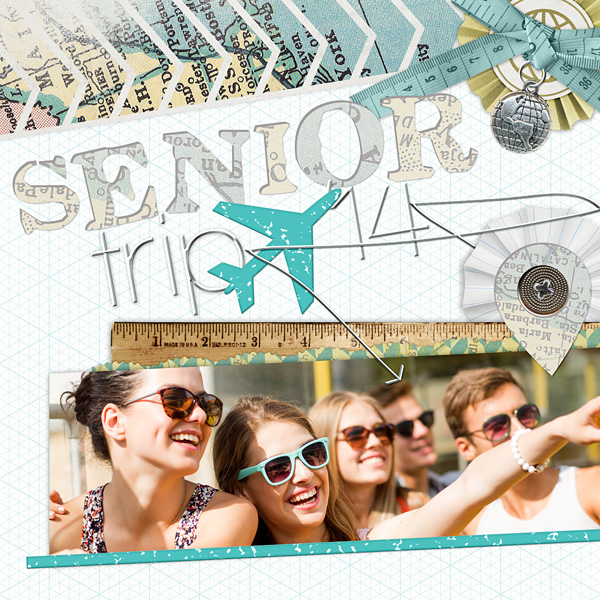 "Here and There travel inspired Alphas used in ""Senior Trip"" layout by Amanda Fraijo-Tobin (products listed below)"