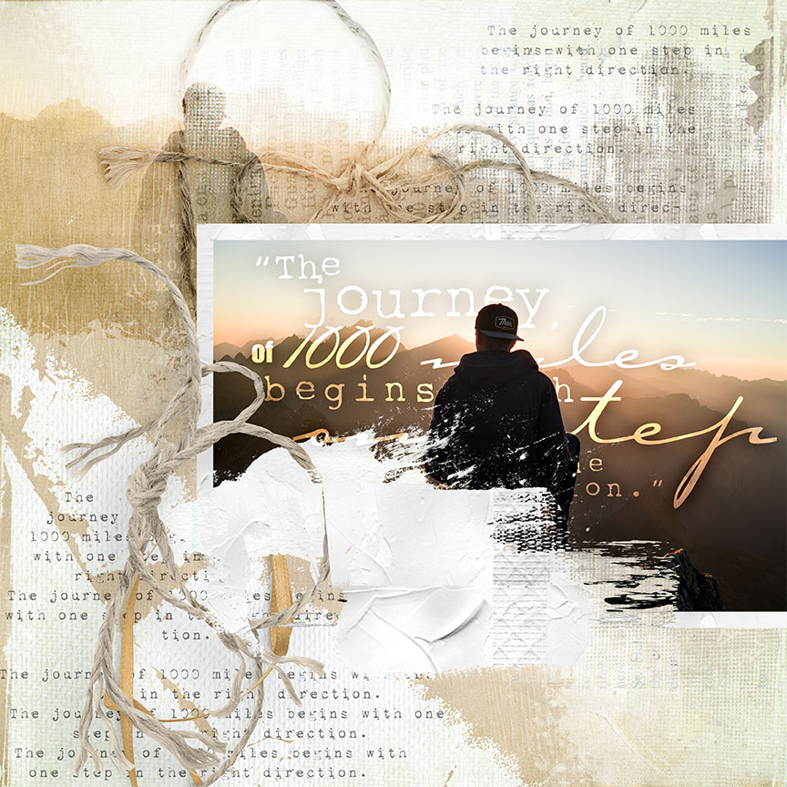 """The Journey"" #digitalscrapbooking layout idea by AFT Designs using Illuminate Papers 