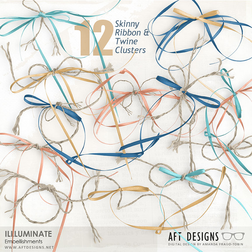 Ribbon and Twin digital scrapbooking embellishments included in AFT Designs Illuminate Collection