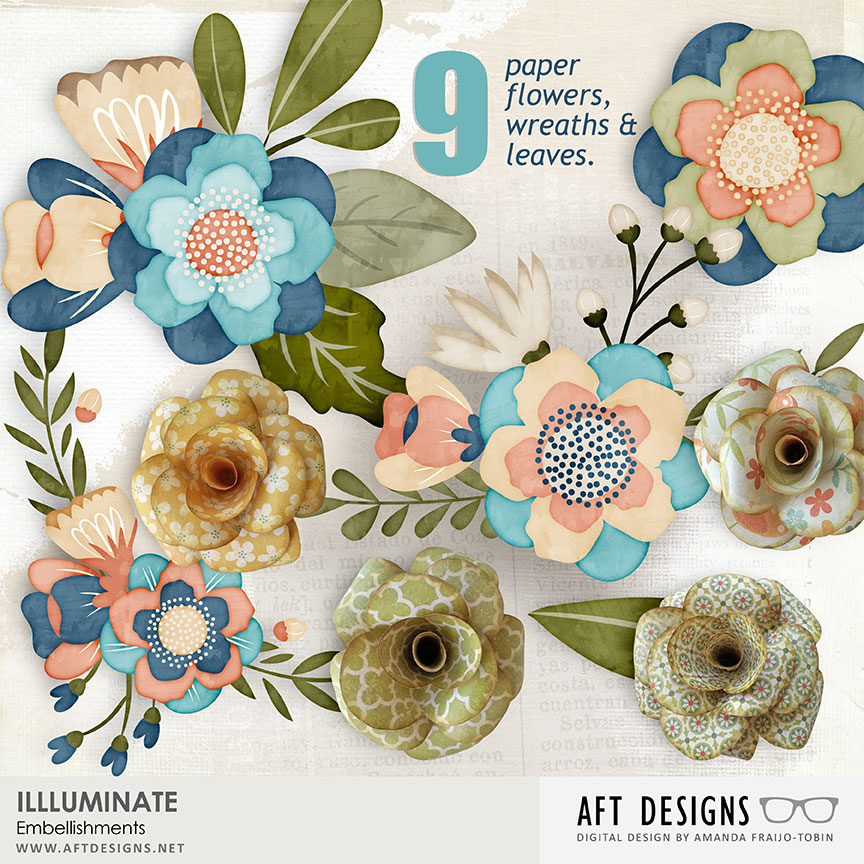 Clip art and paper florals digital scrapbooking embellishments included in AFT Designs Illuminate Collection