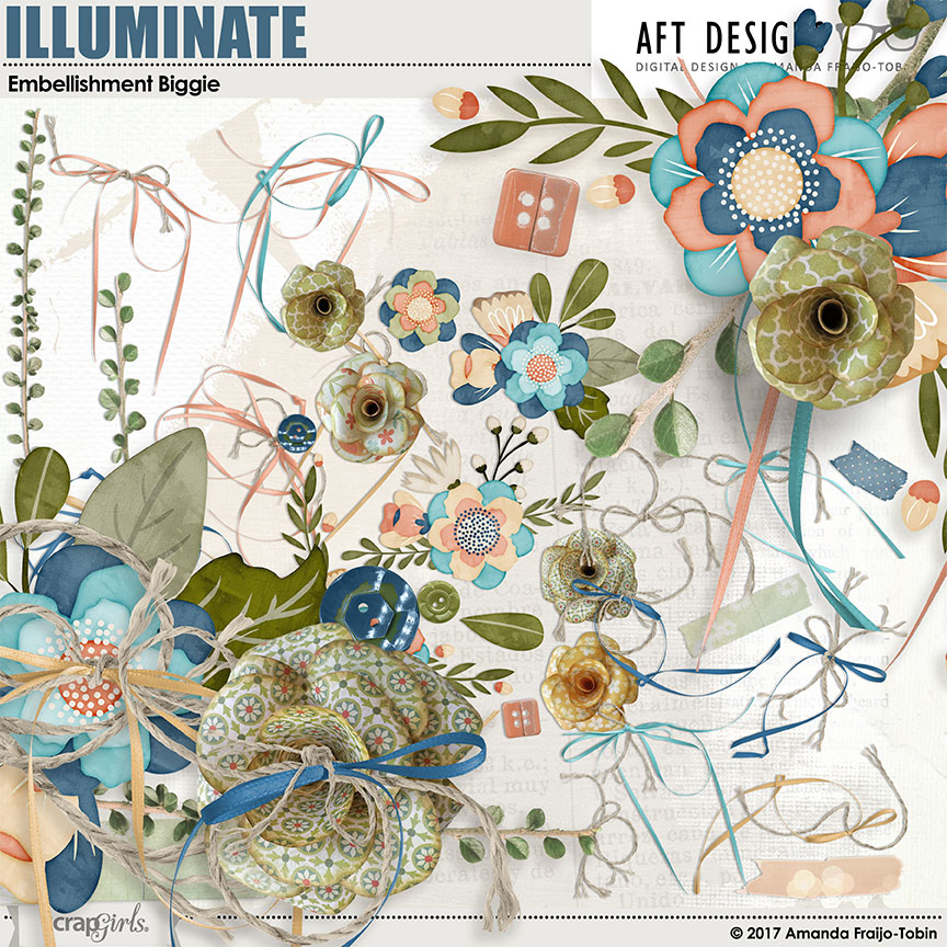 Illuminate digital scrapbooking Embellishments by Amanda Fraijo-Tobin AFT Designs @ScrapGirls.com | #scrapgirls #digitalscrapbooking #printables