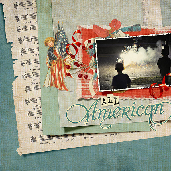 "Digital Scrapbooking Layout ""All American"" by Amanda Fraijo-Tobin (see supply list with links below)"