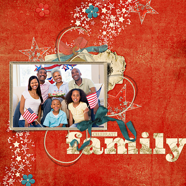 "Digital Scrapbooking Layout ""Celebrate Family"" by Amanda Fraijo-Tobin (see supply list with links below)"