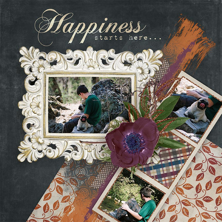 """Happiness Starts Here"" #digitalscrapbooking layout by AFT Designs - Amanda Fraijo-Tobin @Scrapgirls.com"