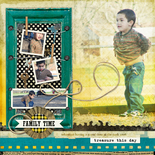 "Digital Scrapbooking Layout ""Treasure This Day"" by Amanda Fraijo-Tobin (see supply list with links below)"