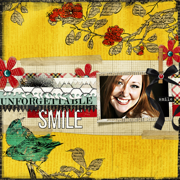"Digital Scrapbooking Layout ""Unforgettable Smile"" by Amanda Fraijo-Tobin (see supply list with links below)"