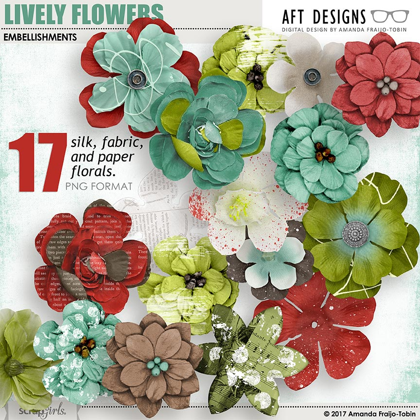 Lively Flower Embellishments by AFT Designs - Amanda Fraijo-Tobin @ScrapGirls.com
