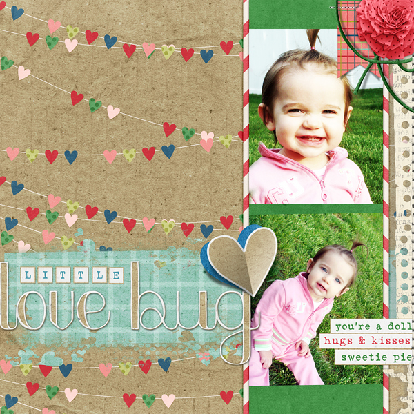 "Digital Scrapbooking Layout ""Little Love Bug"" by Amanda Fraijo-Tobin (see supply list with links below)"