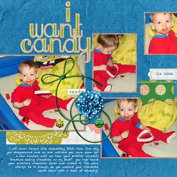 "Digital Scrapbooking Layout ""I want Candy"" by Amanda Fraijo-Tobin (see supply list with links below)"