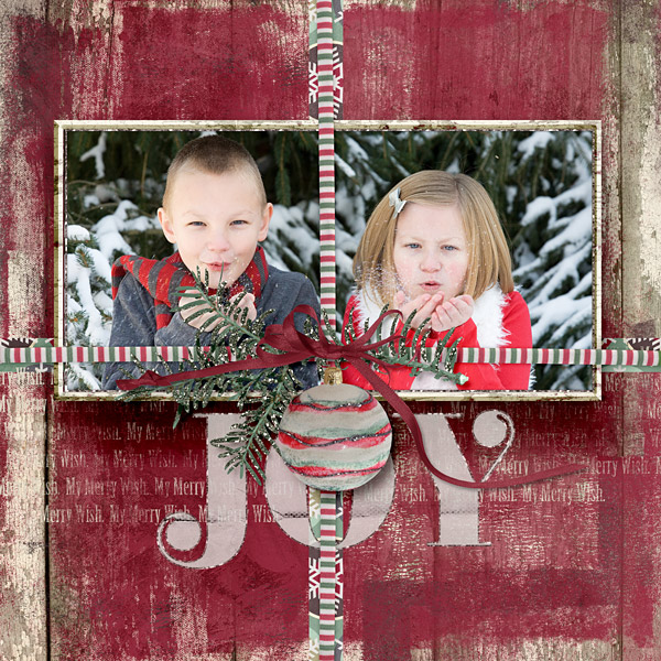 "Holiday ""Joy"" layout uses My Merry Wish Collection 2 by Amanda Fraijo-Tobin"