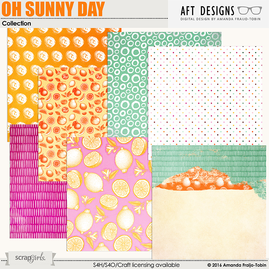 Oh Sunny Day.Oh Sunny Day Digital Scrapbooking Papers By Aft Designs