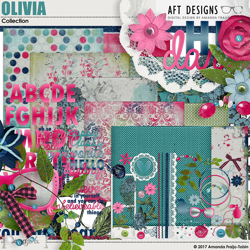 Olivia Digital Scrapbooking Kit by AFT Designs - Amanda Fraijo-Tobin @ScrapGirls.com