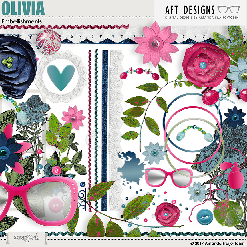 Olivia Digital Scrapbooking Embelishments by AFT Designs - Amanda Fraijo-Tobin @ScrapGirls.com