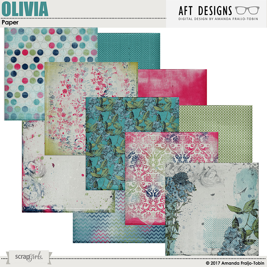 Olivia Digital Scrapbooking Printable Papers Included in Collection