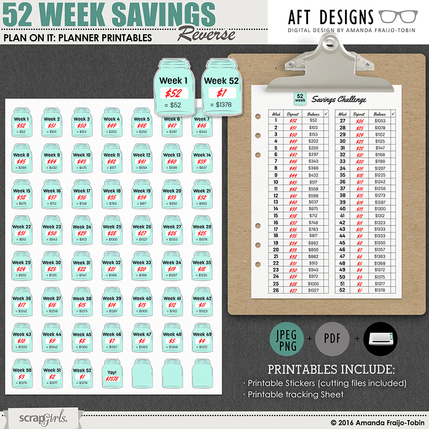 Plan On It: 52 Week Savings Reverse Plan #printable planner stickers and checklist | by AFT designs @ScrapGirls.com