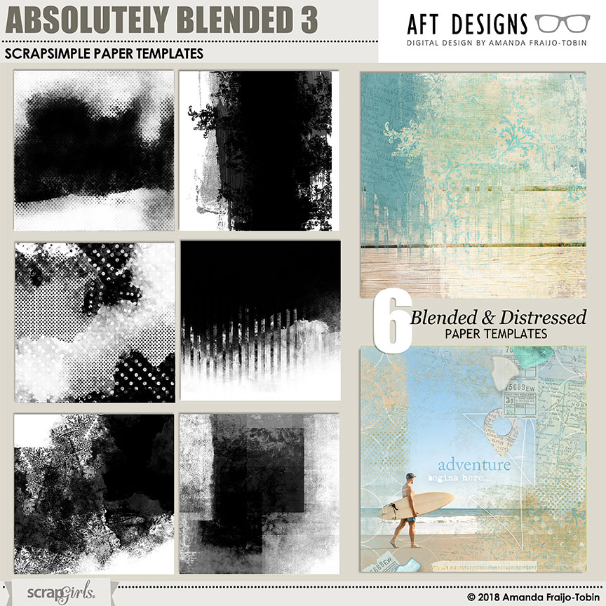 ScrapSimple Paper Templates: Absolutely Blended 3 by Amanda Fraijo-Tobin | AFT Designs @ScrapGirls.com