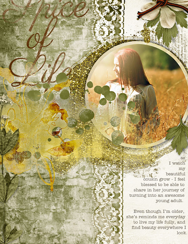 """Letter scrapbooking pepper clusters layout """"Spice Of Life"""" by Amanda Fraijo-Tobin"""