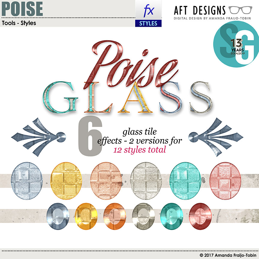 ScrapSimple Styles: Poise Glass Photoshop Layer Styles by AFT Designs - Amanda Fraijo-Tobin @ScrapGirls.com | #scrapgirls #aftdesigns #digitalscrapbook #scrapbook