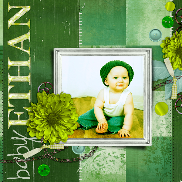 "Digital Scrapbooking Layout ""Baby Ethan"" by Amanda Fraijo-Tobin (see supply list with links below)"