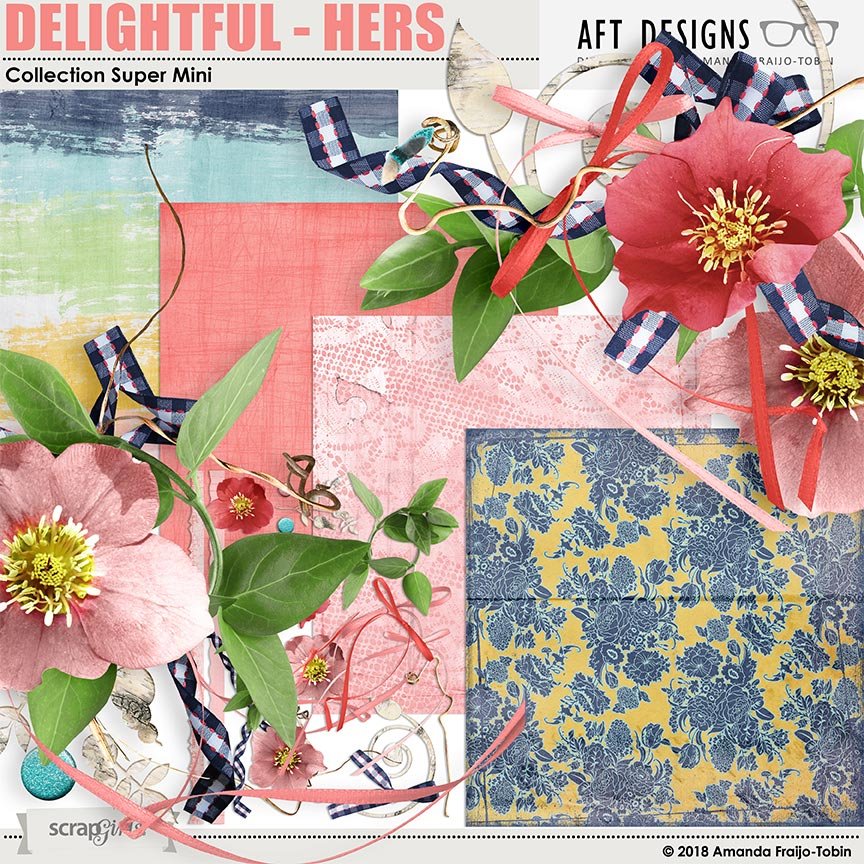 Delightful - Hers #digitalscrapbooking kit by AFT Designs - Amanda Fraijo-Tobin @ScrapGirls.com