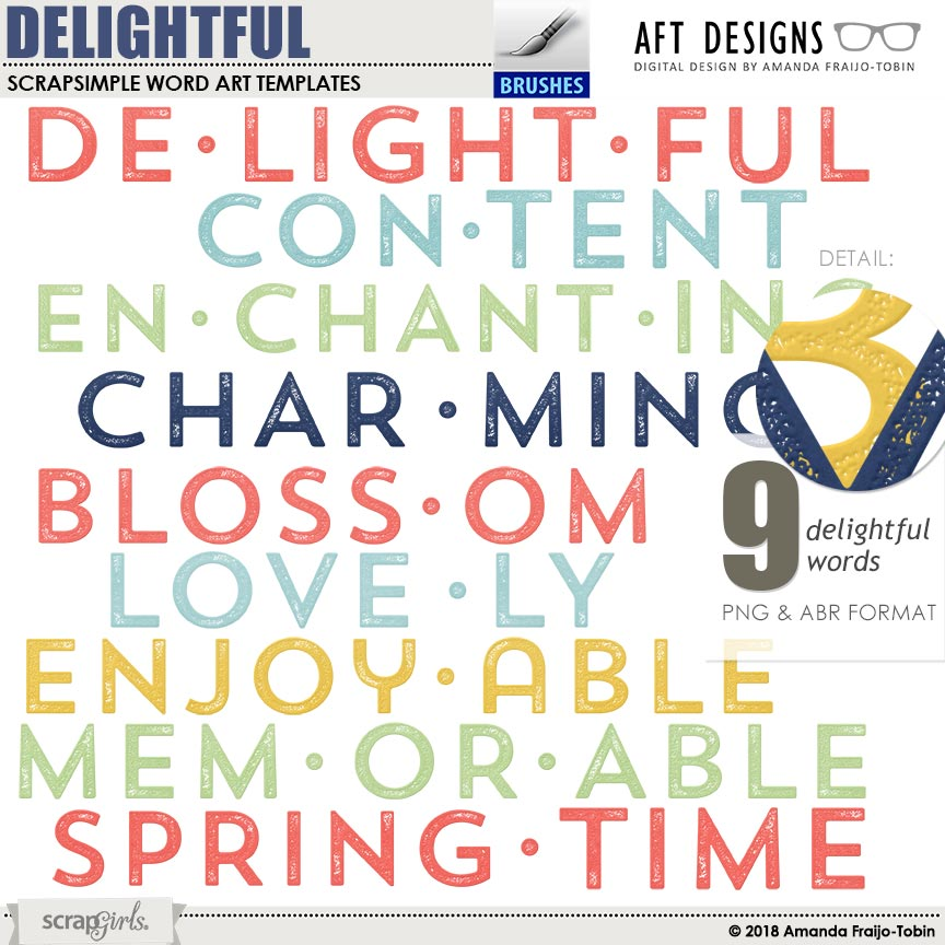 Delightful Word Art and Brushes by AFT Designs - Amanda Fraijo-Tobin @ScrapGirls.com